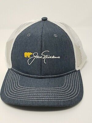 Jack Nicklaus Hat Golf Golden Bear Embroidered Script Mesh Navy Blue / White