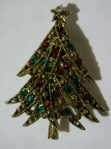 Rhinestone  Christmas  Tree  Pin  -  Signed  HOLLYCRAFT