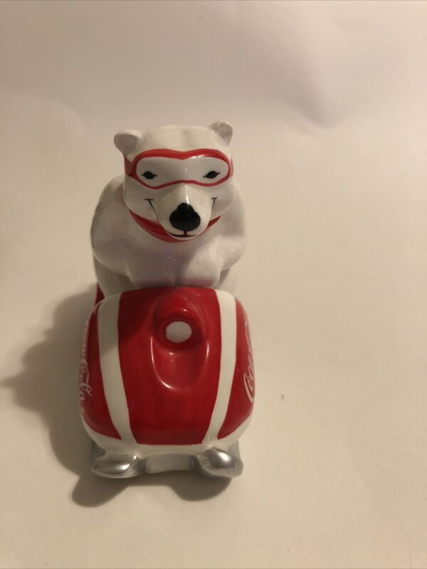 1995 Coca Cola Ceramic Polar Bear~Always Snowmobiling Figure