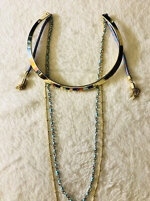 Polished Gold Choker With Beads And Tassels