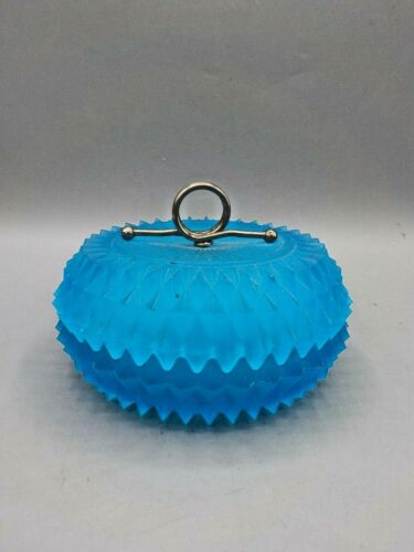 Vtg Indiana Diamond Point Blue Satin Glass Powder Jar Candy Dish &Cover Art Deco