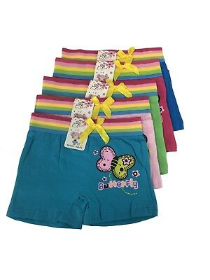 New Lot 5 Girl Butterfly Cotton Boxer Briefs #C329 (Boxer Girls)