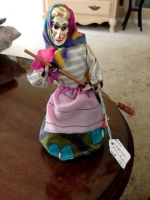 Unusual Vintage Folk Art Halloween Doll Witch with broom and pipe cleaner