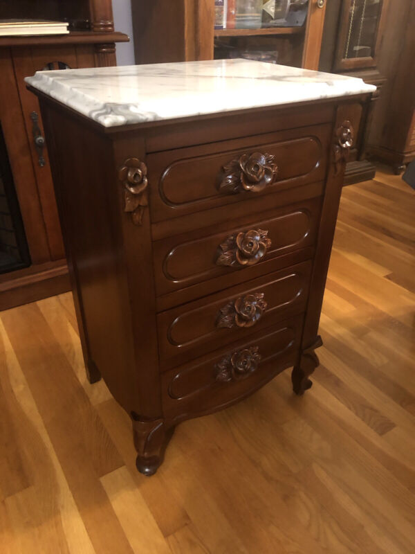 Solid Mahogany Marble Top Nightstand
