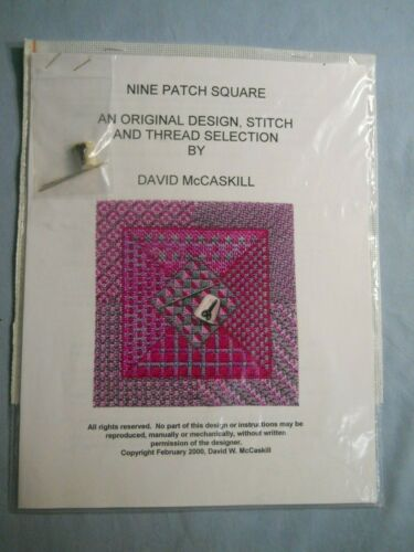 """Quilt Square Hand Painted Needlepoint Canvas Nine Patch Square  5 1/8"""" x 5 1/8"""""""