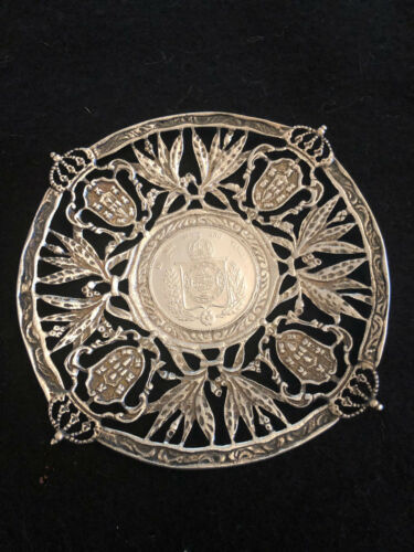 Sterling Silver Brazilian Coin Plate with 1861 Brazil 1000 Reis