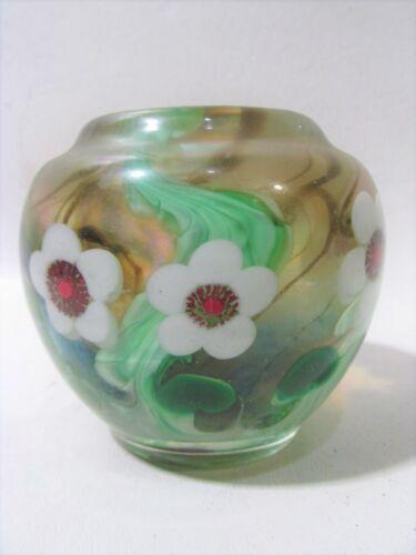 """Lundberg Studios EARLY Vintage 1976 Signed  Floral Vase 4"""" x 4"""""""