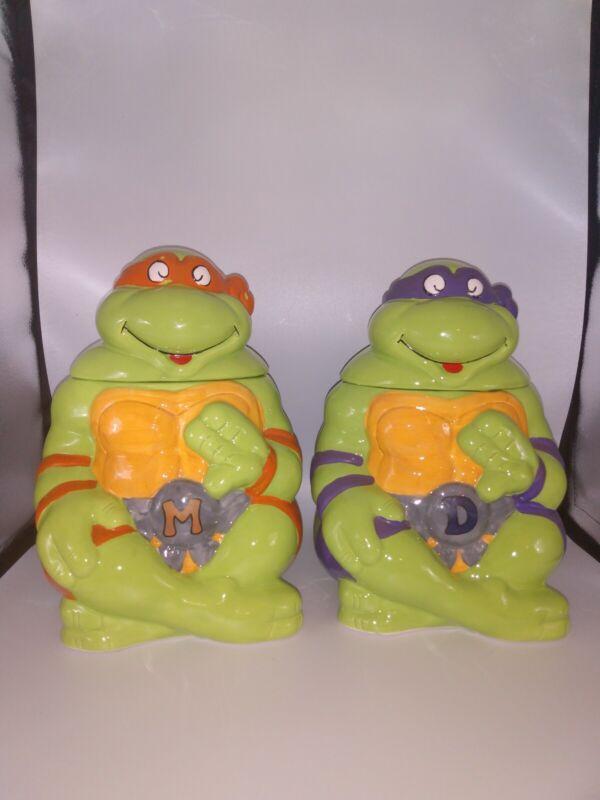 Vintage Teenage Mutant Ninja Turtle Ceramic Cookie Jar Michelangelo Donatello