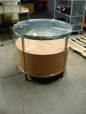 Retail Display Contemporary Round Blonde Metal Glass Table