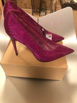 Zara Collection Plum Lace High Heel Shoes Sz 37 Us 6.5 NWB