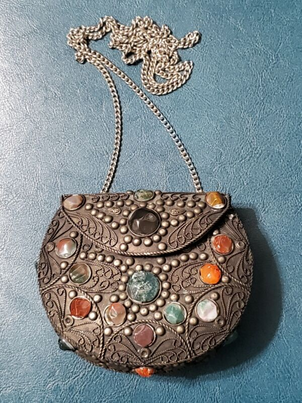 Vintage Sajai Silver Metal Handbag Purse Filigree Stone Ethnic Chain India Boho