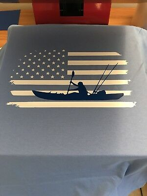 Fishing T-Shirt, Kayak Fishing, American Flag, America, Kayak, Clothing, T-Shirt