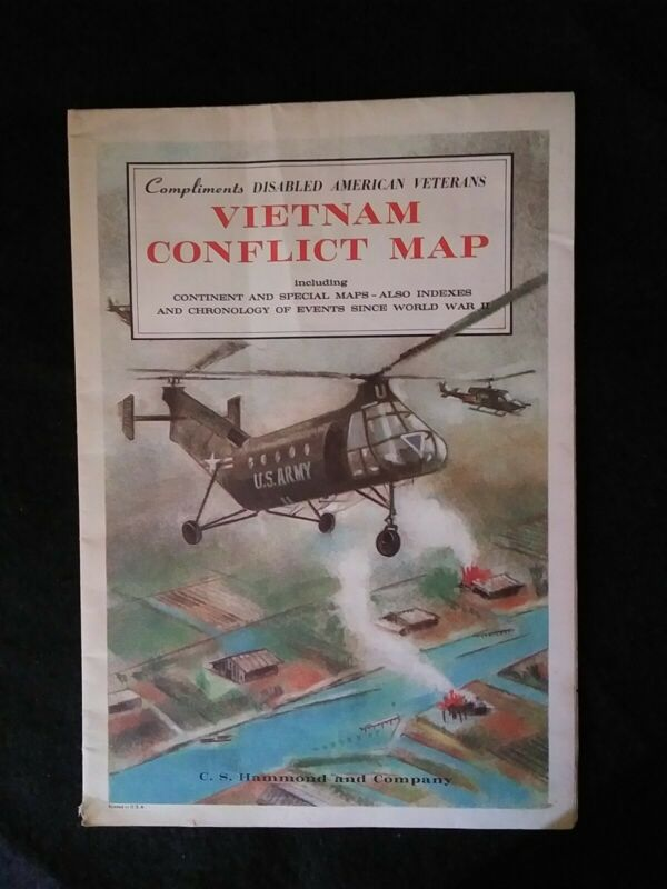 1968 Vietnam Conflict Map Original Military Hammond Incorporated War Chronology