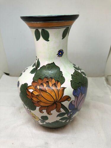 """Vintage Hand Painted Holland Floral Vase Enrysantha #1021 Original 9"""""""