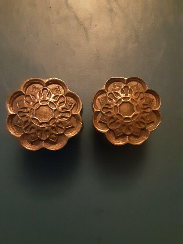 Vintage Ornate Antique Victorian Solid Brass Door Knobs.