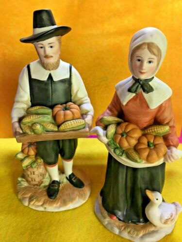 Vintage Home Interiors Rewards of the Harvest Thanksgiving Pilgrims Rare!