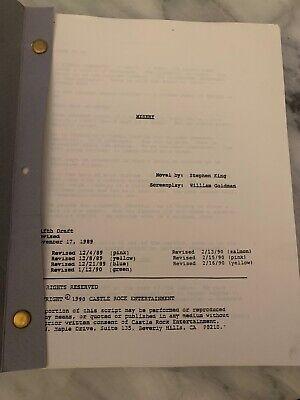 Misery Original Script Stephen King Drama Horror Thriller 1990