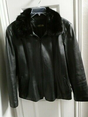 Chosen Couture Collection Black Leather Jacket Mink Fur Collar Size (Black Leather Jacket With Fur Collar Womens)