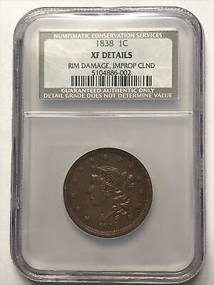 Scarce 1838 Matron Head US Copper Large Cent Penny Graded NGC NCS XF Details