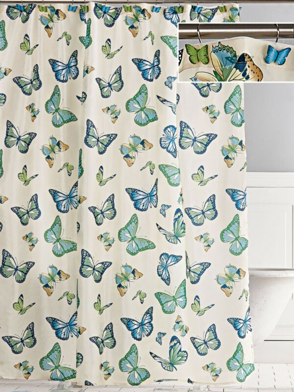 Beautiful BUTTERFLY SHOWER CURTAIN & 12 Butterfly Shower Hooks, Helps Graves