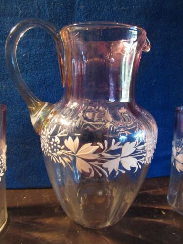 ANTIQUE CIDER PITCHER AND GLASSES, HAND BLOWN ENAMELED