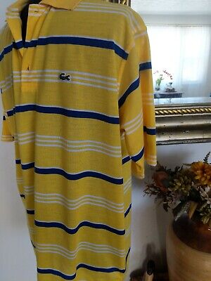 LACOSTE COTTON STRIPE CLASSIC FIT POLO SHIRT SIZE 5 L YELLOW/BLUE/WHITE