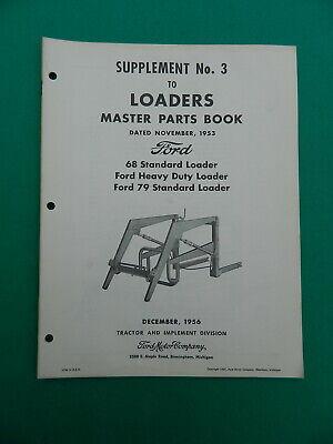1953 Vintage Ford Tractor Loader Master Parts Book Manual Models Supplement No 3