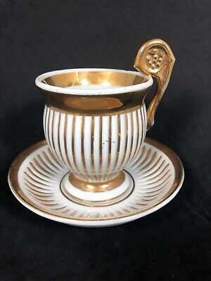 Antique Sevres Vincennes Gold.& White Striped Tea Cup And Saucer Set -
