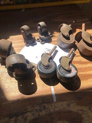Set Of Vintage Casters--wheels Wood Metal Old