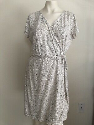 H&M Basics Size Large Cream Black Dotted Wrap Dress