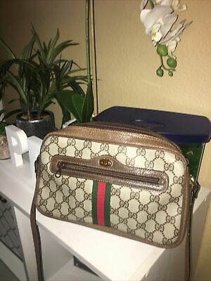 GUCCI GG Mono Ophidia Bag Vintage 70s 80s Pigskin PVC Crossbody Bag Broken Strap