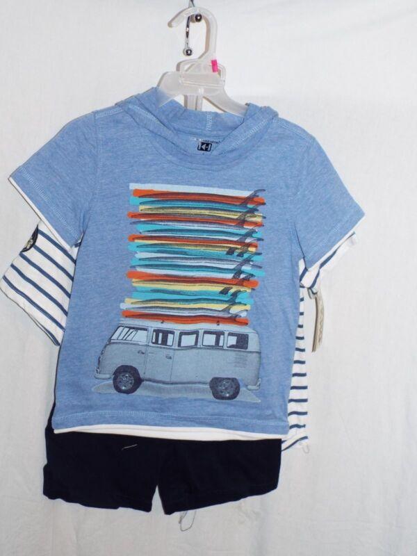 Kids Headquarters Boy's 3pcs Two Shirts & 1 pair of Shorts Set Size 5 NWT