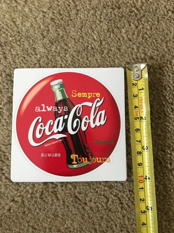 FRENCH Always Coca-Cola Bottle 1990s Style Red Disc Decal