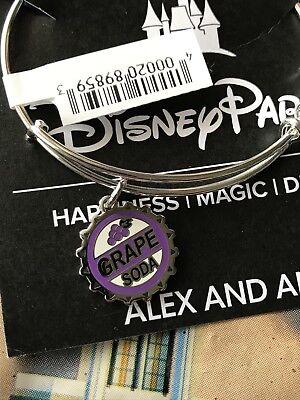 Disney Pixar Alex And Ani UP Grape Soda Bottle Cap Silver Bracelet NEW