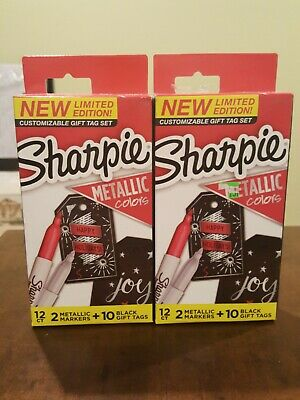 Sharpie Limited Edition Gift Tag Set - 4 Metallic Markers Rubysilver 20 Tags