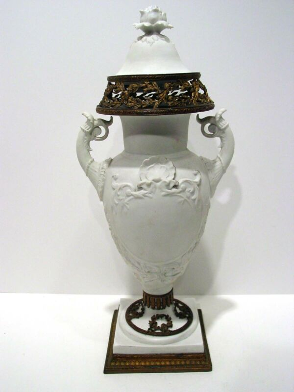 19th Century German Biscuit Porcelain Jar/Urn with Bronze Mounts