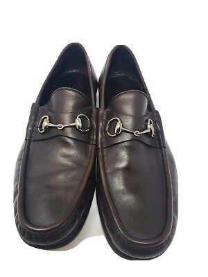 Vintage Gucci Horsebit Loafers Shoes Brown Leather Men's 10.5 D Italy 1035938