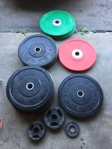 Bumper plates and barbell