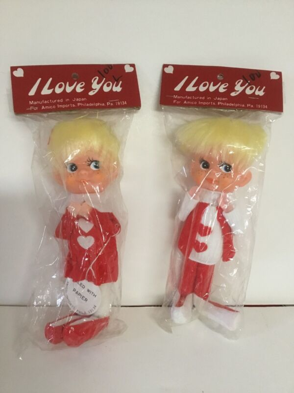 Lot of 2 Vintage Valentine Pixie Boy & Girl Elves. Japan. Amico Imports. NOS