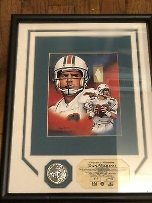 Matted/Framed Dan Marino Print Game Worn Jersey/Collectible Coin 119 Of 200