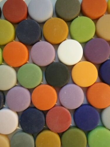 20 mm Matte Finish Round Glass Mosaic Tiles -25 Tiles Mixed Colors - 4 mm thick