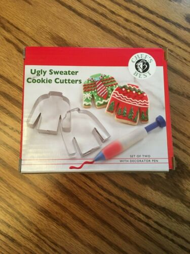 Ugly Christmas Sweater Cookie Cutter Set metal Decorator Icing pen NEW