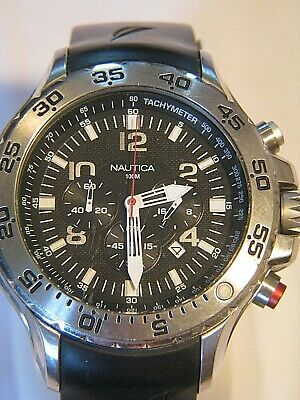 NICE MEN'S STAINLESS NAUTICA 100M DIVER CHRONOGRAPH WATCH WRISTWATCH N14536G