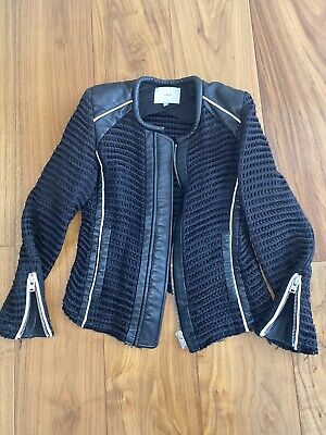 IRO Black jacket With White Piping And Silver Zips size 38
