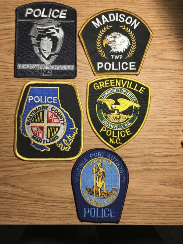 police patches patch lot:Charlotte-Meck, Madison, Baltimore,Greenville& VA Port