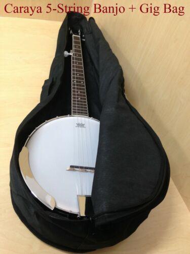 Caraya BJ-005 5-String Banjo w/Mahogany Resonator,Milky Top+Free Gig Bag
