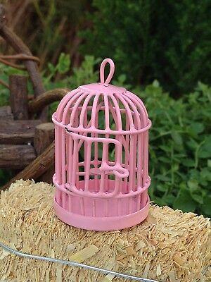 Miniature Dollhouse FAIRY GARDEN Accessories ~ Pink Metal Bird Cage ~ NEW