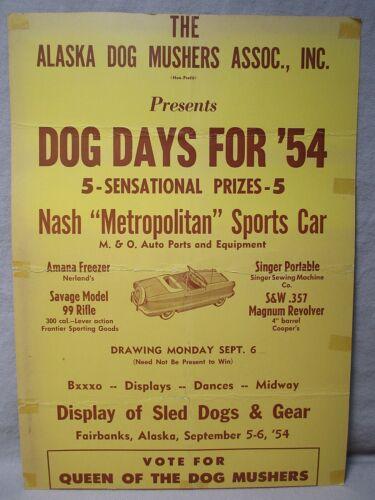 "Vintage 1954 Alaska Dog Mushers Association ""Dog Days"" Poster Fairbanks, Alaska"