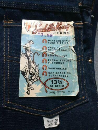 Vintage NOS 30x32 Saddle King Key Western Bootcut 14oz Denim Blue Jeans USA 60s