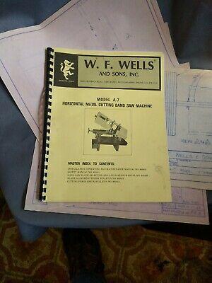 W. F. Wells Model A-7 Horizonal Metal Cuting Band Saw Manual Blue Prints